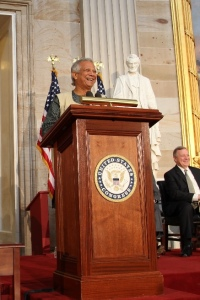 (Photo - Nasir Ali Mamun) Professor Muhammad Yunus, who received the congressional Gold Medal on April 17, will headline the 2013 Partnerships against Poverty Summit