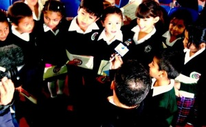 Schoolchildren in Colombia interviewed during Global Money Week