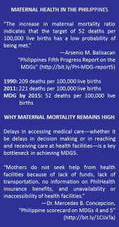 "MATERNAL HEALTH IN THE PHILIPPINES ""The increase in maternal mortality ratio indicates that the target of 52 deaths per 100,000 live births has a low probability of being met."" —Arsenio M. Balisacan ""Philippines Fifth Progress Report on the MDGs"" (http://bit.ly/PH-MDG-report5) 1990: 209 deaths per 100,000 live births 2011: 221 deaths per 100,000 live births MDG by 2015: 52 deaths per 100,000 live births WHY MATERNAL MORTALITY REMAINS HIGH Delays in accessing medical care—whether it be delays in decision making or in reaching and receiving care at health facilities—is a key bottleneck in achieving MDG5. ""Mothers do not seek help from health facilities because of lack of funds, lack of transportation, no information on PhilHealth insurance benefits, and unavailability or inaccessibility of health facilities."" —Dr. Mercedes B. Concepcion, ""Philippine scorecard on MDGs 4 and 5"" (http://bit.ly/1CIJxTa)"