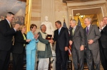 Prof Muhammad Yunus receives the U.S. Congressional Gold Medal in 2013 in recognition of his work and the family of Grameen organizations' work to fight poverty around the world. Photo Credit Nasir Ali Mamun