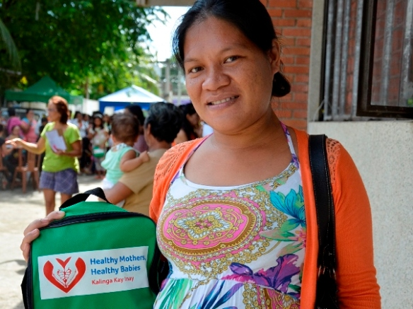 "Pregnant woman attending the first community health fair of ""Healthy Mothers, Healthy Babies"" program in the Philippines"