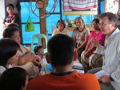 Larry visits a CARD group center in Tacloban