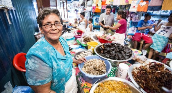 Lucía Urtecho Calderón, client of Financiera FAMA, sells candy and candied fruits in Mercado Carlos Roberto Huembes, Nicaragua on December 13, 2012
