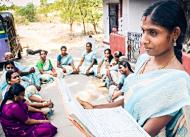 Group leader Padmavathi and her fellow self-help group members (Kanchipuram, India). Photo courtesy of Hand in Hand International