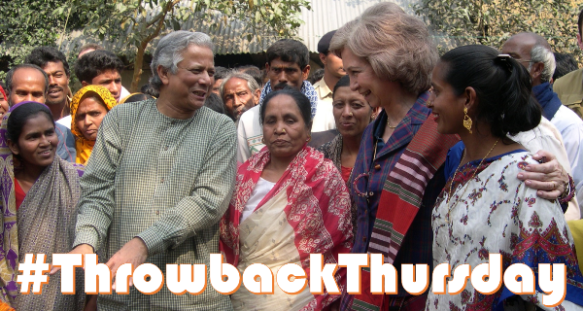 Muhammad Yunus and Queen Sofia of Spain visit a village in Bangladesh served by Grameen Bank (2007)
