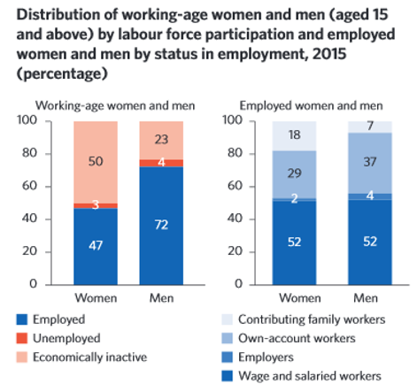 Distribution of working-age women and men (aged 15 and above) by labour force participation and employed women and men by status in employment, 2015 (percentage)