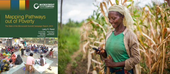 An African farmer is linked into the financial system via her mobile phone.