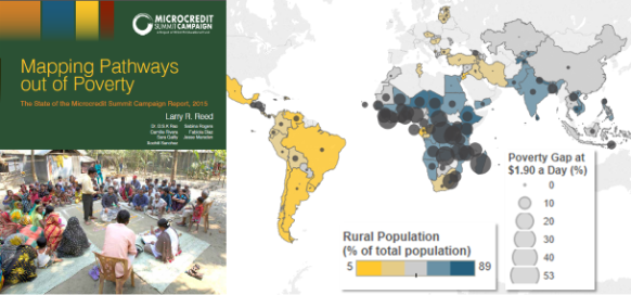 "The map on the right illustrates the prevalence of below $1.90 per day poverty in rural areas. Source: Adapted from World Bank Data (online), 2015, ""Rural Population (% of total population),"" http://data.worldbank.org/indicator/SP.RUR.TOTL.ZS; and ibid., ""Poverty gap at $1.90 a day (PPP 2011) (%),"" http://data.worldbank.org/indicator/SI.POV.GAPS."